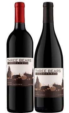 三只熊双支干红礼盒装(三只熊2010珍藏赤霞珠干红葡萄酒+三只熊小席拉干红葡萄酒)