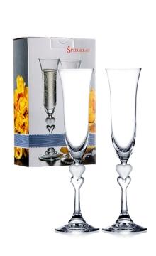 诗杯客乐无铅水晶心形香槟杯双支套装