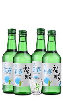 真露烧酒20.1度竹炭酒 韩国进口酒洋酒清酒低度酒4瓶