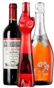 热情红瓶高颜值干红/桃红起泡/甜白女士酒推荐套装组合-3支装